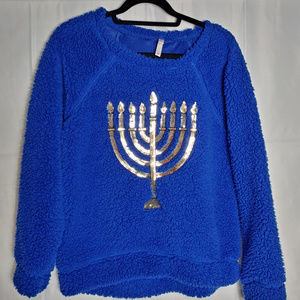 Chanukah Menorah Holiday Ugly Sweater Fleece
